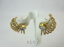 Vintage 14k Yellow Gold Moonstone Earrings hand made large