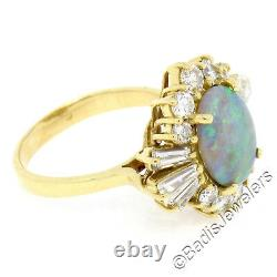 Vintage 18k Yellow Gold GIA Natural Gray Opal Round & Baguette Diamond Halo Ring