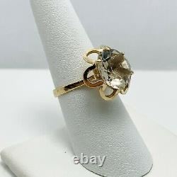 Vintage 4.50ct Natural Quartz 14k Yellow Gold Ring (9008)