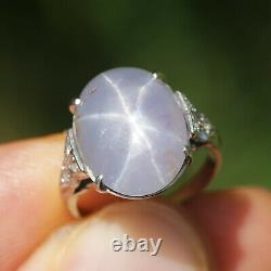 Vintage Certified Star Sapphire Ring with Diamonds Platinum 9.90ct