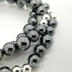 Vintage Tiffany & Co. Sterling Silver & Hematite Multi Bead 21 In Necklace