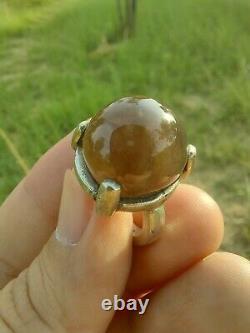100% Naturel Yéménite Black Gray Agate Aqeeq Silver Evil Protection Sufi Anneau