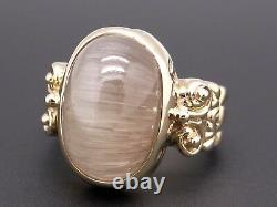 14k Or Jaune 14ct Cabochon Rutilated Quartz Flower Band Taille 9