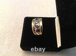 14k Saphir D'or Jaune Et Bague Diamant
