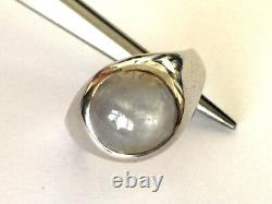 14k Solid White Gold Custom Made Natural Grey Star Sapphire Ring Taille 10.75