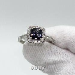 14k White Gold 1.73 Tcw Dark Grey Spinel Diamond Ring Voir Video Avec Évaluation