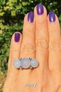 18k White Gold Diamond Chalcedony Cabochon Three Stone Horizontal Ring Italie 7,5