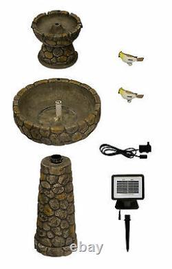 2 Niveau Birdbath Fontaine D'eau Caractéristique Solar Powered Cobbled Stone Effect Garden