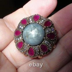 20.40ct Naturel Non Heured Gray Star Sapphire, Ruby Ring 925 Silver. Taille 9.75