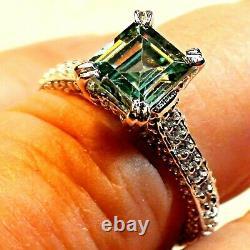 3.20 Ct Gray Blue Couleur Naturel Très Fire Moissanite Diamond 925 Silver Ring. 7,5