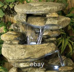 3 Palier Roche Cascade Water Feature Fountain Waterfall Natural Stone Effect Garden
