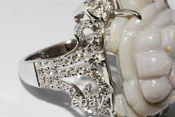 $8,500 12.24ct Natural Opal & Diamond Hand Carved Turtle Ring 14k Or Blanc