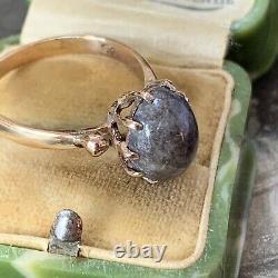 9ct Gold Grey Scottish Jasper Agate Ring Cabochon Hallmarked 1970's Taille Royaume-uni N. 5