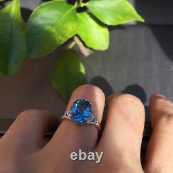 Aaaaa Natural Blue Topaz 3.39ct Withdiamond 0.08ct Set Dans Rose Bague En Or 18k K#