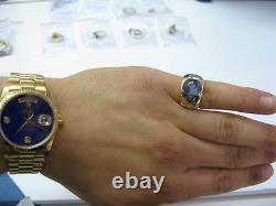 Amende 15.80ct Star Sapphire Trillion Diamond Yellow Gold Ring Huge