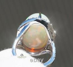 Anneau Opal White Gold Diamond Natural 14k Gia Certifié 22.57ctw Retail 16 600 $