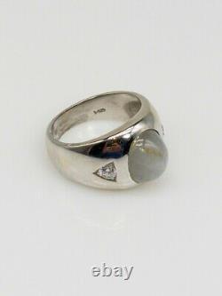 Antique Années 1950 $6000 12ct Natural Star Grey Blue Sapphire Diamond 14k Gold Ring