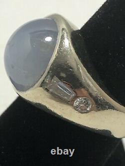 Antique Art Déco 14k White Gold Gray Cabochon Star Sapphire & Diamonds Ring