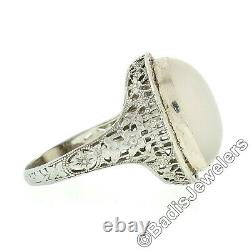 Antique Art Déco 14k White Gold Oval Blue Gray Moonstone Solitaire Filigree Ring