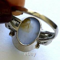 Antique Platinum Ladies Ring Natural Bluish Gray Star Sapphire 2 Taille Diamant 6