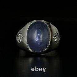 Bague Diamant Saphir Gris Clair 14k Or Blanc Taille 7