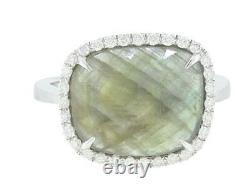 Bague En Diamant Naturel Pour Femmes En Or Blanc 14k Avec Tranche De Saphir 4.49 Carat