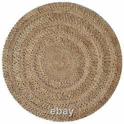 Bayview Gold Beige Brayed Woven Naturel Jute Round Rug 160x160cm Nouveau