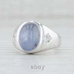 Bleu Clair Gris Étoile Saphir Bague Diamant 14k Blanc Or Taille 7