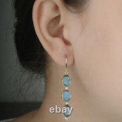 Boucles D'oreilles Solides 14k Or Jaune Triple Ovale Cut Labradorite Diamond Drop