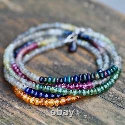 Bracelet D'enroulement Opale Noir Naturel Tourmaline Bracelet Collier Long Blanc Or