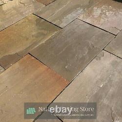 Brun D'automne 600x900 Grès Indien Dalles Naturelles De Pavage Patio Calibrated