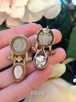 Citrine Et Ruby Avec Boucles D'oreilles Stone Cameo Dangle En Or Jaune 14k Hm603i