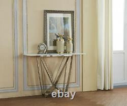 Console Table Pierre Naturelle Avec Effet Marble White Top Gris Acier Inoxydable
