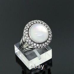 David Yurman 925 Argent Sterling Diamond 14mm Pierre De Lune Ronde Cerise Taille De L'anneau 7