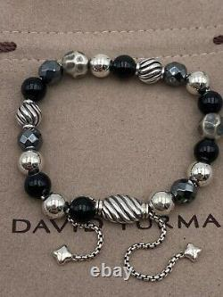 David Yurman Sterling Argent 8mm Éléments Hématite Noir Onyx Perles Bracelet