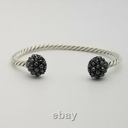 David Yurman Sterling Silver 3.5'mm Osetra Cable Berries Hematite Cuff Bracelet