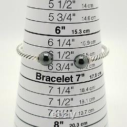 David Yurman Sterling Silver 3.5mm Câble 9mm Hematite Solari Bracelet Diamant