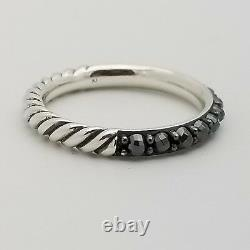 David Yurman Sterling Silver 3'mm Hematite Cable Berries Ring Taille 7 Pouch & Box