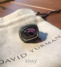 David Yurman Sterling Silver Waverly Anneau Améthyste Saphirs Gris Et Dy Pouch