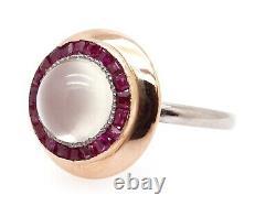 Déco Platinum 14k Rose Or 3,50ct Cabochon Pierre De Lune Ruby Halo Lunette Anneau Sz 7
