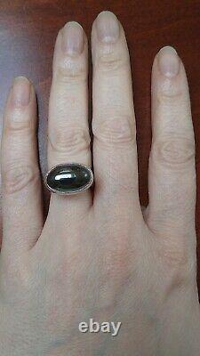Georg Jensen Danemark Vintage Moderniste Sterling Argent & Hématite Big Ring #123b