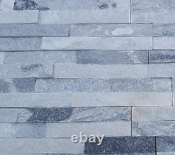 Gris & Blanc Quartz Mixed Split Face 3d Carreaux De Revêtement Mural Scintillant Échantillon