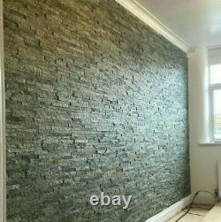 Gris / Olive Quartz Split Face Stone Wall Cladding Mosaic Tile Tiles Sparkle