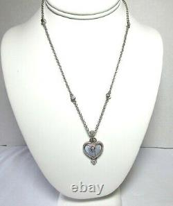 Judith Ripka Cz Sterling Argent Gris Onyx Coeur Pendentif Enhancer Collier 22,9 G
