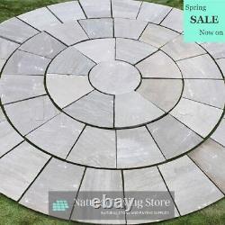Kandla Grey Sandstone 3m Cercle Dalles De Pavage Drapeaux Handcut Patio