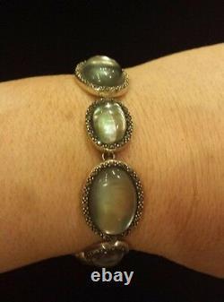 Marcasite, Gris Mother-of-pearl & Clear Quartz Bracelet En Argent Sterling Stunning