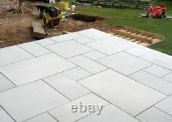 Natural Smooth Silver Grey Sandstone Honed Exterior Paving Dalles Patio Flags Nouveau