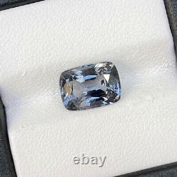 Natural Unheated Grey Spinel 3.49 Cts Cushion Cut Loose Gemstone