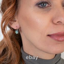 Or Jaune Massif 14k Ovale 8x10mm Boucles D'oreilles Faites Main Labradorite