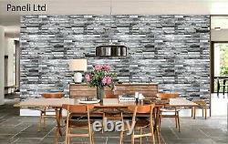Panneaux Muraux En Pvc 3d Revêtement Décoratif Tile Clading Effet De Pierre Gris Naturel